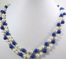 Natural 2 Rows Real 8-9mm White Pearl & Lapis lazuli Beads Necklace 17-18''