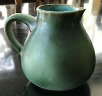 "Vintage Gotek Colonia Tovar Venezuela Pottery Pitcher Green 4"" Tall 4-1/2"" wide"