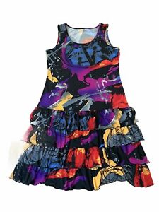 Peter Nygard Ruffle Layered Dress Women's Large Colorful Liquid Paint Stretch