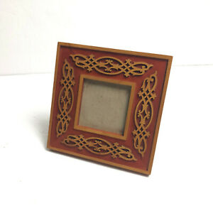 Philip Whitney Hand Crafted Wood Inlay Freestanding Cherry Picture Frame 3 x 3