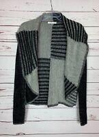 Cabi Women's M Medium Gray Black Patchwork Open Winter Soft Sweater Cardigan