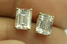 4.02ct Emerald cut Diamond Stud Earrings Solid 14k Yellow Gold Heavy Screw Back