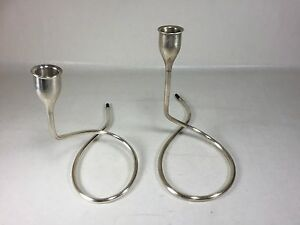 Pair Sterling Silver Towle Marion Anderson Noyes Mid Century Modern Candlesticks