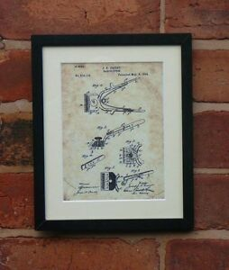 USA Patent Drawing vintage BARBER HAIR CLIPPERS hairdresser MOUNTED PRINT 1894