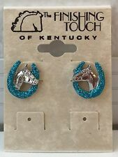 New Turquoise Glitter Horse Shoe surrounds Horse Head Silver Tone Stud Earrings