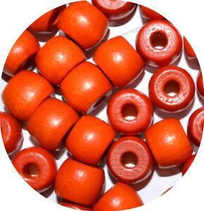 20 Orange 10mm Barrel Wood Wooden Beads Hair Braids Dreads Hole 3mm