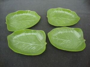 Pier 1 Imports Set of 4 Melamine Tropical Palm Leaves Salad Plates/Bowls NWT New