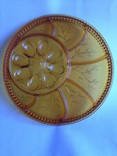 Indiana Glass Company Amber Glass Relish Devil Egg Serving Tray Platter in Box