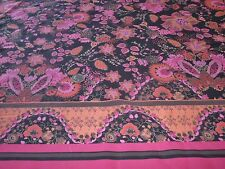 COTTON PRINT DOUBLE BORDER FLORAL-BLACK/CERISE/ORANGE-DRESS FABRIC-FREE P&P