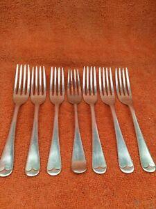 7 x Antique Silver Plate 17.5cm  Forks, Walker & Hall C1920
