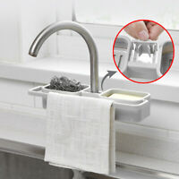 Kitchen Sink Faucet Soap Sponges Storage Organizer Cloth Drain Rack Holder Shelf