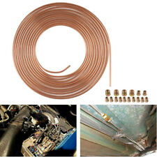"25 Ft Brake Pipe Line Tubing Roll Coil of 3/16"" OD Copper Nickel Kit w/ 16x Nuts"