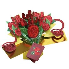 Greeting Cards Handmade Birthday Wedding Invitation 3D Pop Up Card Flower Rose