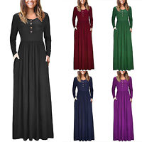 Women's Jersey Long Sleeve Maxi Dress Ladies Casual Party Swing Long Dresses
