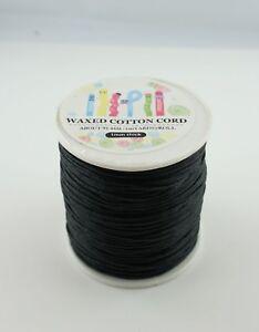 Gewachstes Baumwollband  2 Meter  Bändchen  schwarz  1 mm dick