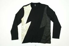 INC INTERNATIONAL CONCEPTS GOLD LARGE SHINY FAUX LEATHER LIGHTNING SWEATER NWT