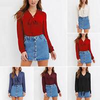 Women Bow V-Neck Chiffon Blouse Top T-Shirt Long Sleeve Casual Shirt Plus Size