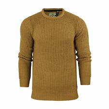 Mens Jumper Brave Soul Binary Fisherman Knitted Crew Neck Sweater Mustard X Large