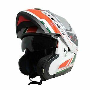 Flip Front Helmet > MT Atom SV Raceline Evo Motorcycle - White / Red / Green