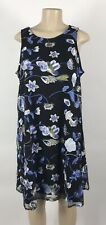 B17 Women's ECI Black/Blue Floral Embroidered Shift Dress Size L NEW
