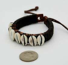 Surfer Bracelet Wristband Men's Women's Brown Adjustable Shell Beads Leather
