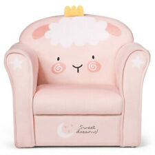 Gymax Kids Lamb Sofa Children Armrest Couch Upholstered Chair Toddler Furniture