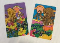 Vtg Psychedelic 60s Women Western Whitman Playing Cards Imperial Diamond Coat