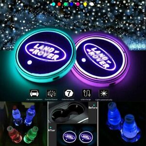 2PCS LED Car Cup Holder Lights Pad for Mat Land Rover  Atmosphere Lamp 7 Colors