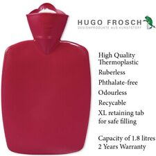 Hugo Frosch German Hot Water Bottle Rubberless Red Heat Cold Bag Therapy 1.8 L