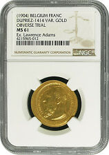 Unique Belgium Franc Die Trial in Gold (1904 Design over 1903 Design) Ngc Ms 61