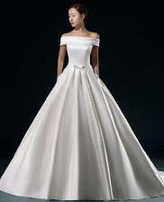 Off-the-shoulder Satin Wedding Dres Bridal Gown Custom Size 2-6-8-10 12-14-16+++