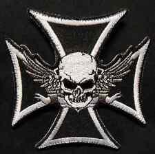 IRON CELTIC FLYING SKULL CROSS ARMY SWAT BLACK OPS VELCRO® BRAND FASTENER PATCH