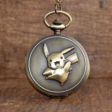 Japan Anime Cute Pokemon Pocket Watch Vintage Kawaii Cartoon Quartz Fob Chain