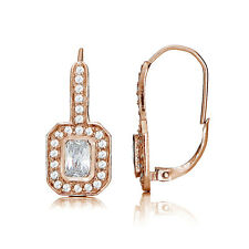 Rose Gold Flashed Sterling Silver Cubic Zirconia Rectangle Leverback Earrings