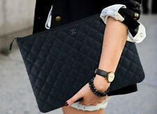 Rare Find! Chanel Large So Black Calfskin Leather O Case Clutch in Black