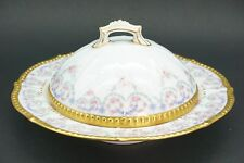 Elite Limoges Gorgeous Rose Swags Purple Gold Butter Dish