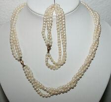 2er Set echte Perlenkette + echtes Perlen-Armband 3-reihig - 585 Goldverschluß
