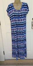 Carole Hochman Heavenly Soft Sleepwear Maxi Nightgown PL Blue Tie Dye -NWOT NEW