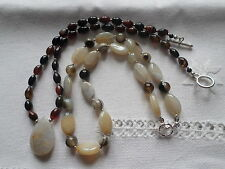 Silver plated set of Agate and Quartz necklaces.