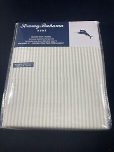 Tommy Bahama Stone Washed Paloma Stripe Sheet Set - King Size - Tan - NEW