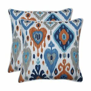 Pillow Perfect Outdoor   Indoor Paso Azure 18.5-inch Throw Pillow Set of 2 Blue