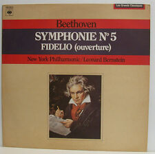 "BEETHOVEN SYMPHONIE N° 5 FIDELIO OUVERTURE LEONARD BERNSTEIN 12"" LP (e793)"