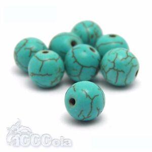 Lots PERLES en pierre naturelle Howlite couleur turquoise créations bijoux