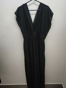 Black Low Cut Maxi Dress evening gown formal dress Size 20