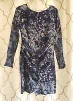 PIPERLIME Size Small BLUE FLORAL 100% SILK DRAPE FRONT SHEATH DRESS Long Sleeve
