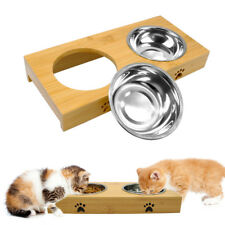 Wooden Base Stainless Steel Dog Bowl Feeding Double Food Water Feeder Paw Print