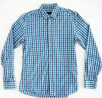 SABA Mens Shirt Size S Tapered Fit Long Sleeve 100% Cotton Blue Check EC