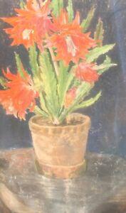 VINTAGE IMPRESSIONIST PASTEL PAINTING STILL LIFE WITH FLOWER