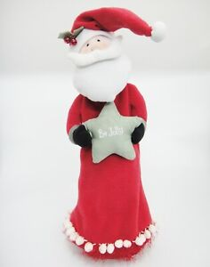 Santa Claus Fabric Wine Bottle Cover Bag Be Jolly Star Red Flannel Christmas