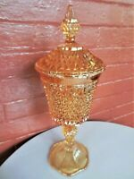 Tiara Indiana Glass Iridescent Gold Carnival Diamond Point Candy Box Urn Chalice